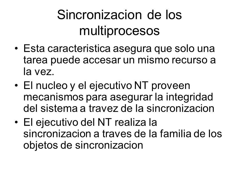 Sincronizacion de los multiprocesos Esta caracteristica asegura que solo una tarea puede accesar un mismo recurso a la vez. El nucleo y el ejecutivo N
