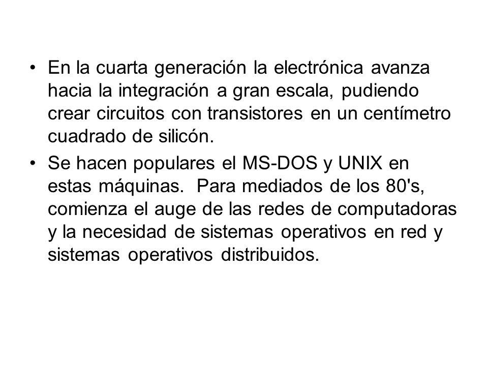 En la cuarta generación la electrónica avanza hacia la integración a gran escala, pudiendo crear circuitos con transistores en un centímetro cuadrado
