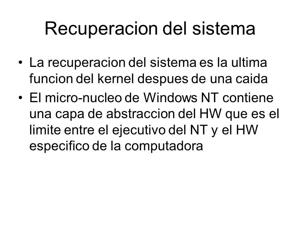 Recuperacion del sistema La recuperacion del sistema es la ultima funcion del kernel despues de una caida El micro-nucleo de Windows NT contiene una c