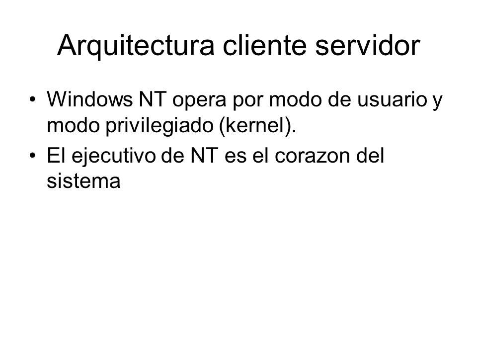 Arquitectura cliente servidor Windows NT opera por modo de usuario y modo privilegiado (kernel). El ejecutivo de NT es el corazon del sistema