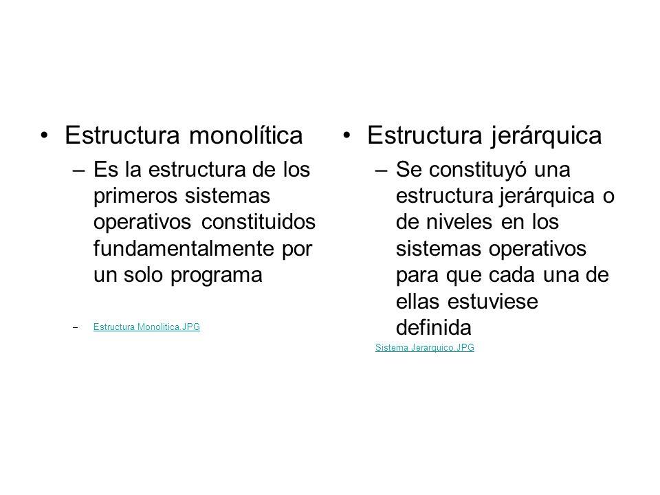 Estructura monolítica –Es la estructura de los primeros sistemas operativos constituidos fundamentalmente por un solo programa –Estructura Monolitica.