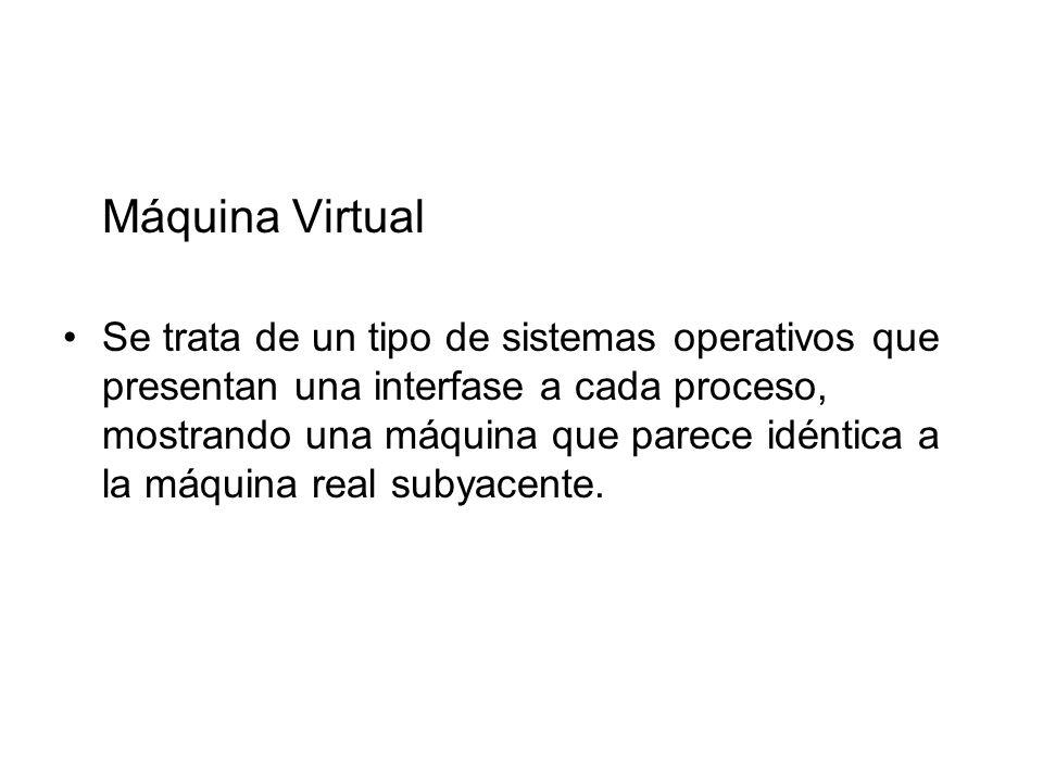 Máquina Virtual Se trata de un tipo de sistemas operativos que presentan una interfase a cada proceso, mostrando una máquina que parece idéntica a la