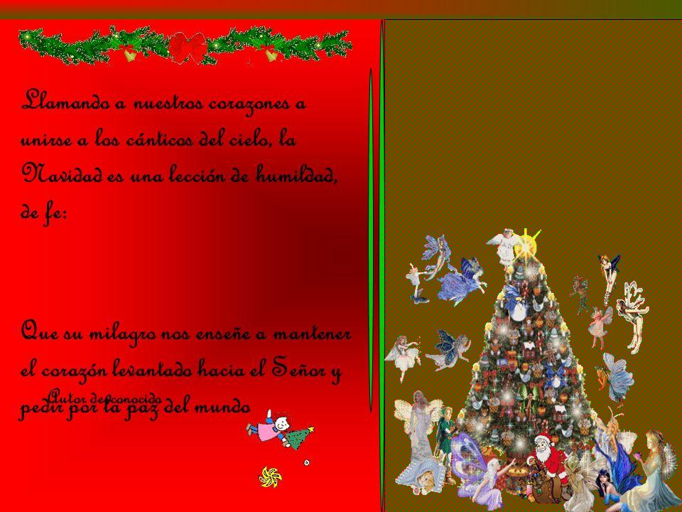 Llamando a nuestros corazones a unirse a los cánticos del cielo, la Navidad es una lección de humildad, de fe: Autor desconocido Que su milagro nos enseñe a mantener el corazón levantado hacia el Señor y pedir por la paz del mundo