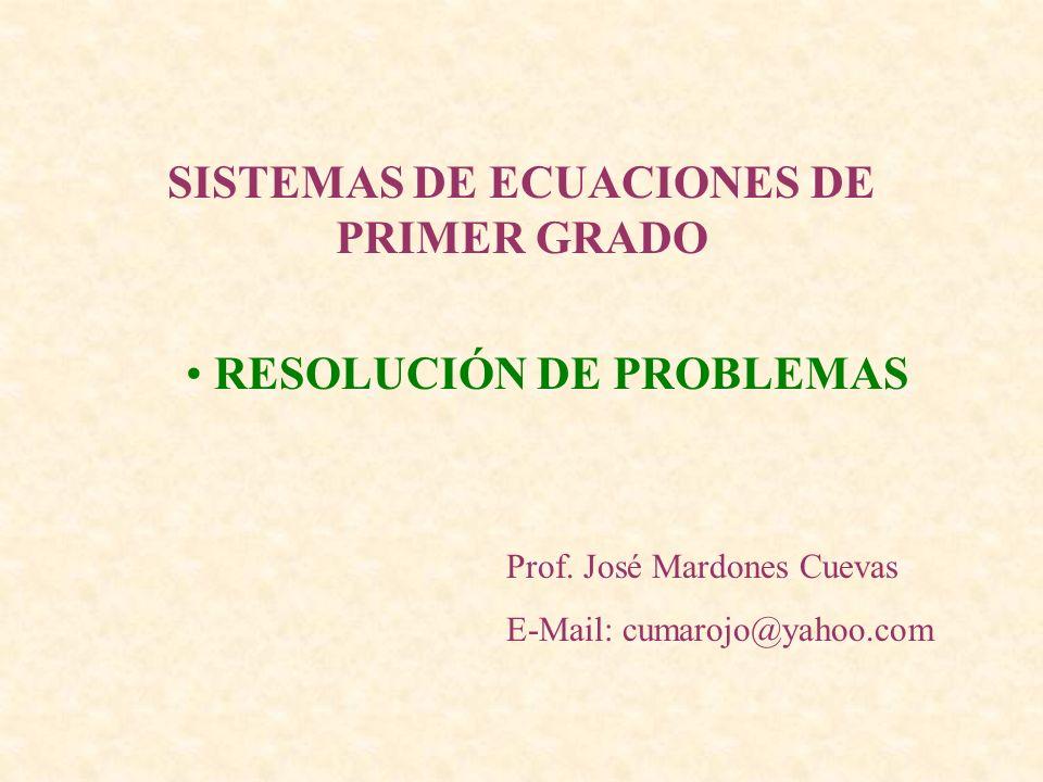 SISTEMAS DE ECUACIONES DE PRIMER GRADO Prof. José Mardones Cuevas E-Mail: cumarojo@yahoo.com RESOLUCIÓN DE PROBLEMAS
