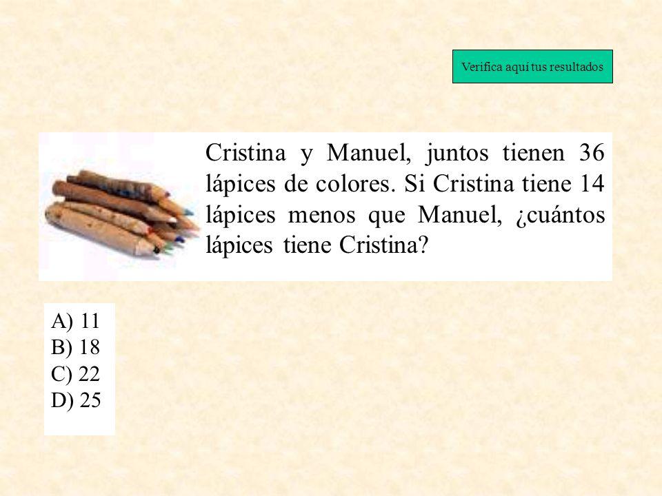 Cristina y Manuel, juntos tienen 36 lápices de colores. Si Cristina tiene 14 lápices menos que Manuel, ¿cuántos lápices tiene Cristina? A) 11 B) 18 C)