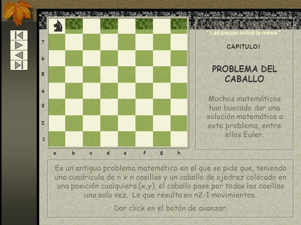 Es un antiguo problema matemático en el que se pide que, teniendo una cuadricula de n x n casillas y un caballo de ajedrez colocado en una posición cu