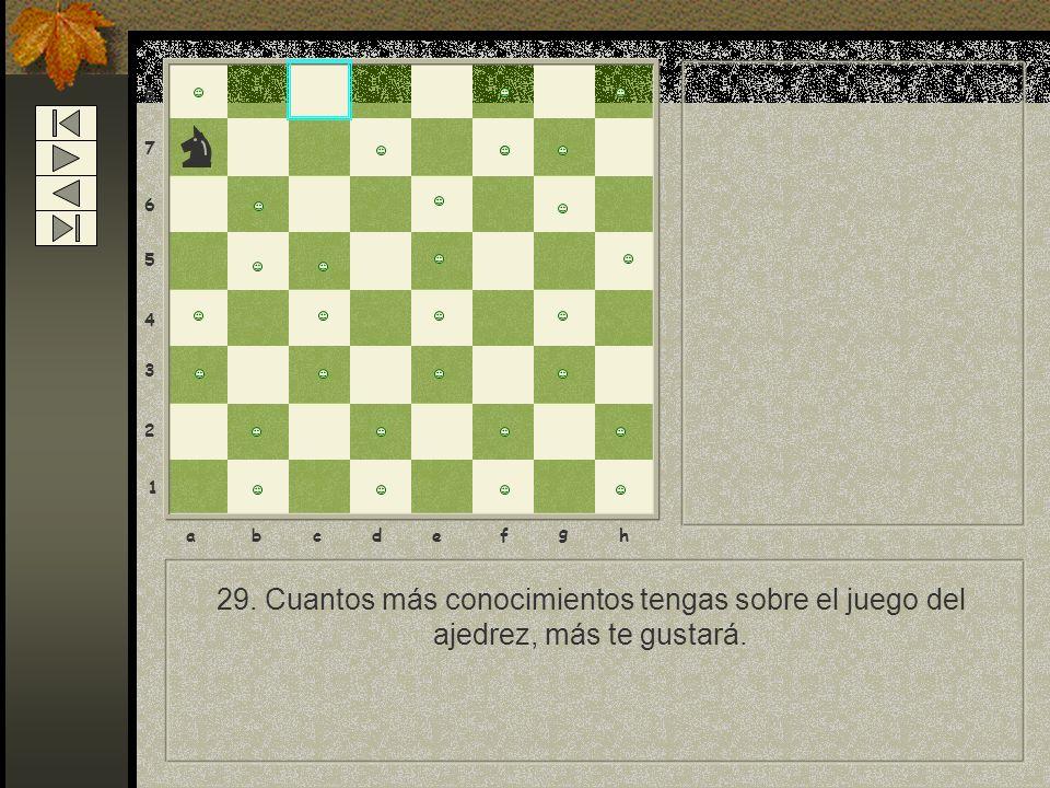 8 7 6 5 4 3 2 1 29. Cuantos más conocimientos tengas sobre el juego del ajedrez, más te gustará. abcdef g h
