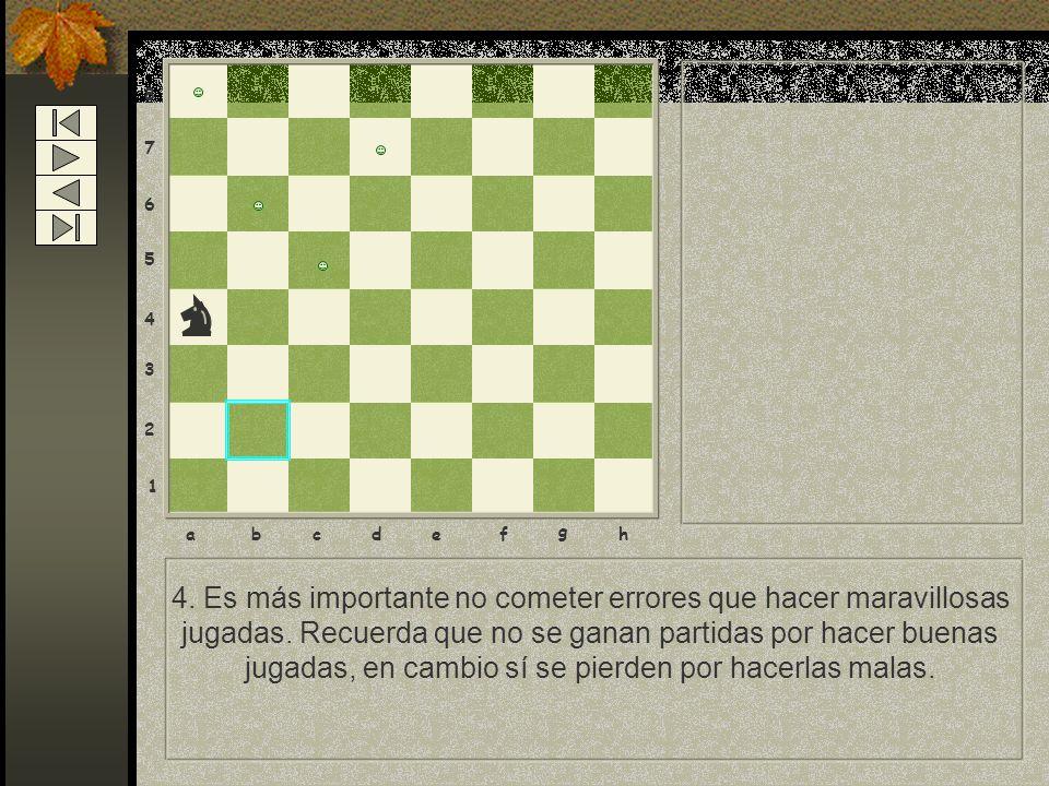 8 7 6 5 4 3 2 1 abcdef g h 4. Es más importante no cometer errores que hacer maravillosas jugadas. Recuerda que no se ganan partidas por hacer buenas