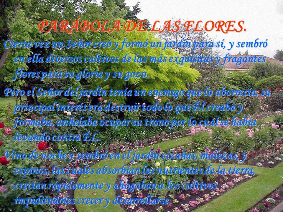 PARÁBOLA DE LAS FLORES. Cierta vez un Señor creó y formó un jardín para sí, y sembró en ella diversos cultivos de las más exquisitas y fragantes flore