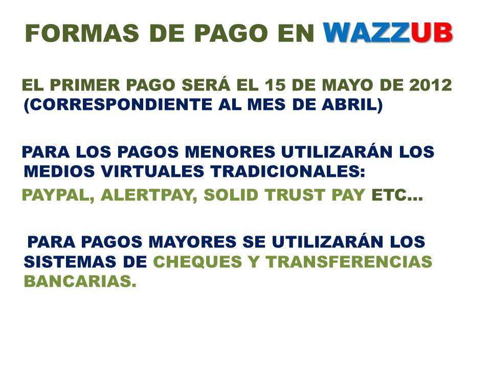 WAZZUB FORMAS DE PAGO EN WAZZUB EL PRIMER PAGO SERÁ EL 15 DE MAYO DE 2012 (CORRESPONDIENTE AL MES DE ABRIL) PARA LOS PAGOS MENORES UTILIZARÁN LOS MEDI