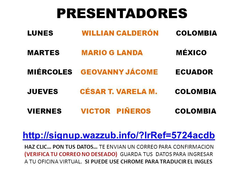 PRESENTADORES LUNES WILLIAN CALDERÓN COLOMBIA MARTES MARIO G LANDA MÉXICO MIÉRCOLES GEOVANNY JÁCOME ECUADOR JUEVES CÉSAR T. VARELA M. COLOMBIA VIERNES