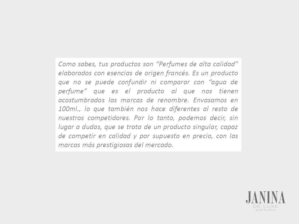 Como sabes, tus productos son Perfumes de alta calidad elaborados con esencias de origen francés.