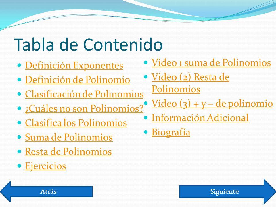 Tabla de Contenido Definición Exponentes Definición de Polinomio Clasificación de Polinomios ¿Cuáles no son Polinomios.