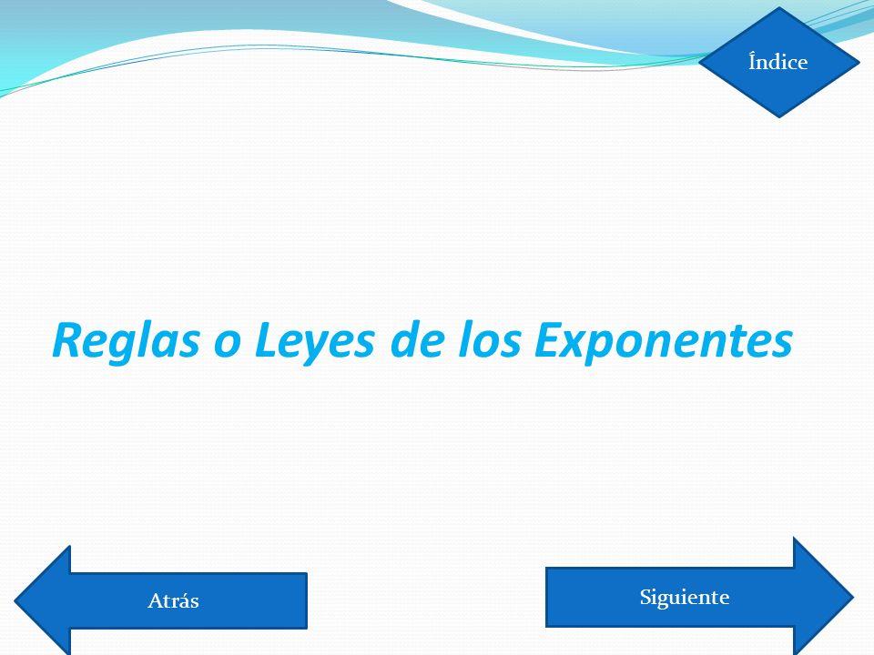 Leyes de los Exponentes Cuando hay un exponente fuera de un paréntesis se multiplica.