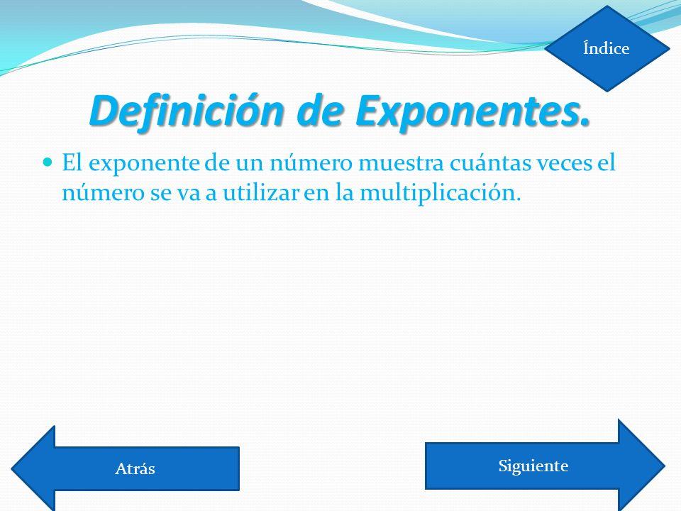 Definición de Exponentes.