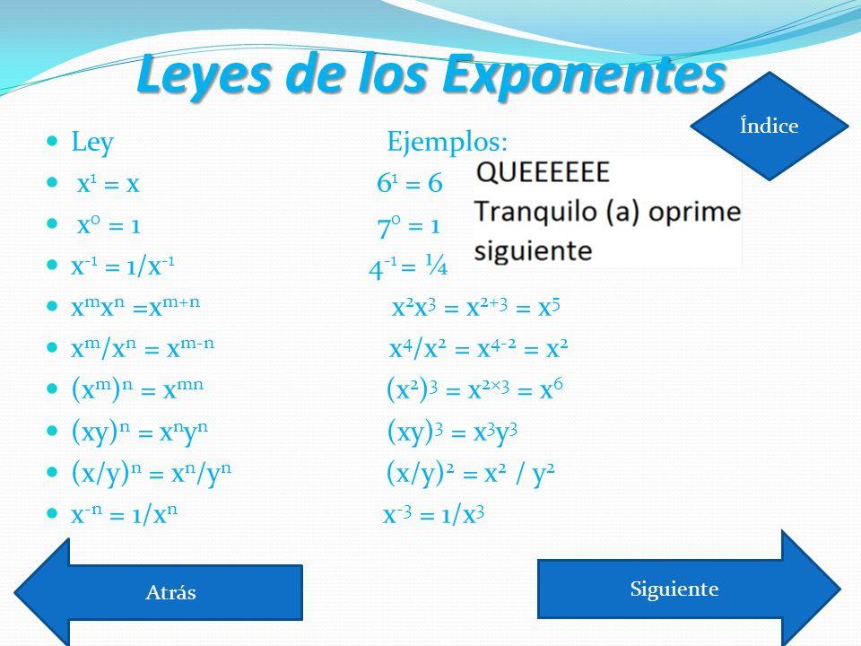 Leyes de los Exponentes Ley Ejemplos: x 1 = x 6 1 = 6 x 0 = 1 7 0 = 1 x -1 = 1/x -1 4 -1 = ¼ x m x n =x m+n x 2 x 3 = x 2+3 = x 5 x m /x n = x m-n x 4 /x 2 = x 4-2 = x 2 (x m ) n = x mn (x 2 ) 3 = x 2×3 = x 6 (xy) n = x n y n (xy) 3 = x 3 y 3 (x/y) n = x n /y n (x/y) 2 = x 2 / y 2 x -n = 1/x n x -3 = 1/x 3 Atrás Siguiente Índice