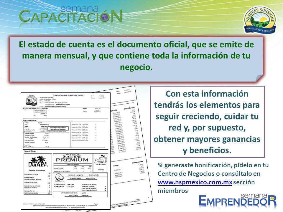 El estado de cuenta es el documento oficial, que se emite de manera mensual, y que contiene toda la información de tu negocio. Con esta información te