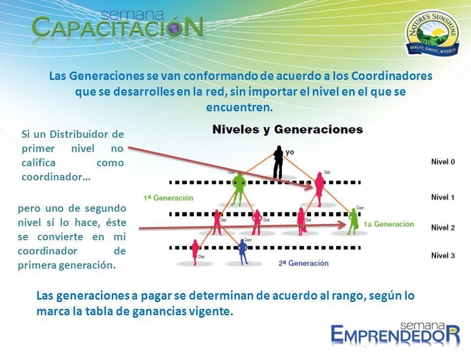 Las Generaciones se van conformando de acuerdo a los Coordinadores que se desarrolles en la red, sin importar el nivel en el que se encuentren. Las ge