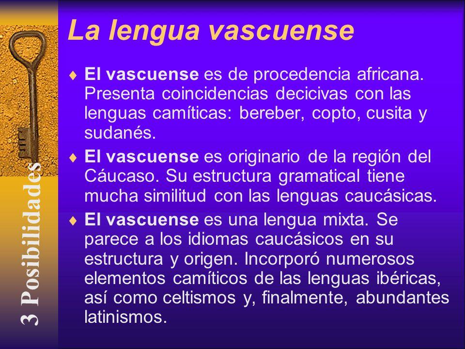La lengua vascuense El vascuense es de procedencia africana. Presenta coincidencias decicivas con las lenguas camíticas: bereber, copto, cusita y suda