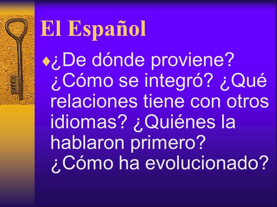 El Español ¿De dónde proviene? ¿Cómo se integró? ¿Qué relaciones tiene con otros idiomas? ¿Quiénes la hablaron primero? ¿Cómo ha evolucionado?