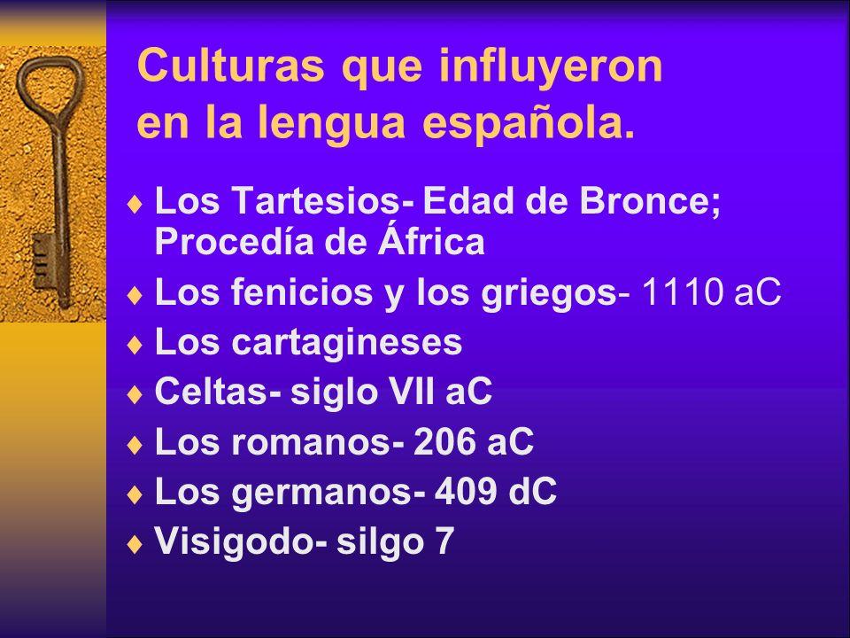 Culturas que influyeron en la lengua española. Los Tartesios- Edad de Bronce; Procedía de África Los fenicios y los griegos- 1110 aC Los cartagineses