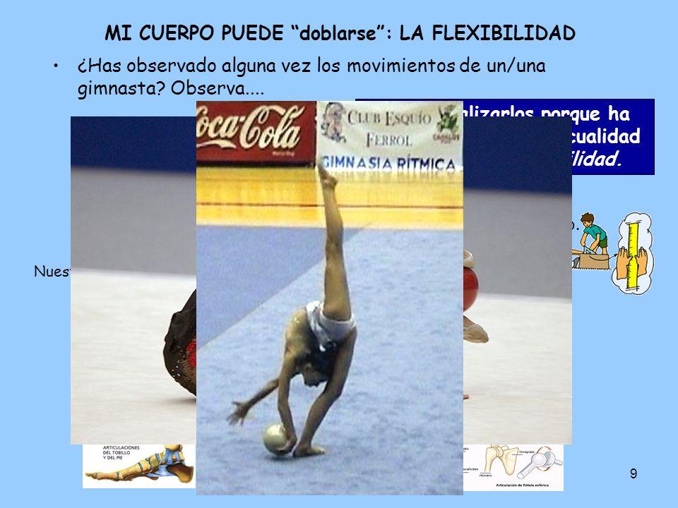9 MI CUERPO PUEDE doblarse: LA FLEXIBILIDAD ¿Has observado alguna vez los movimientos de un/una gimnasta.