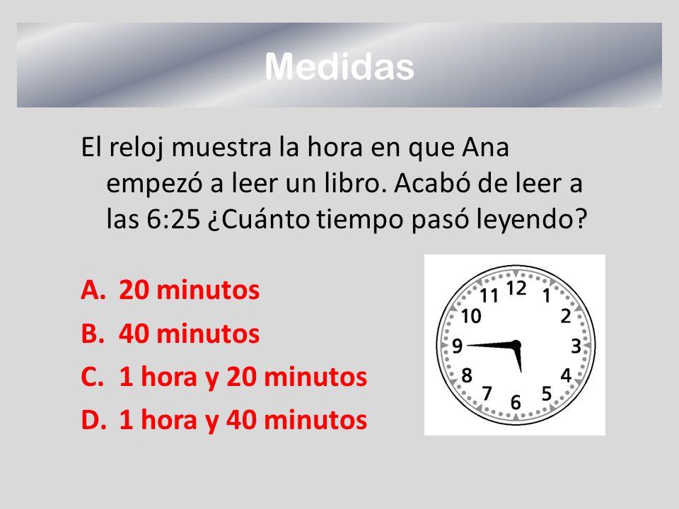 Medidas El reloj muestra la hora en que Ana empezó a leer un libro. Acabó de leer a las 6:25 ¿Cuánto tiempo pasó leyendo? A.20 minutos B.40 minutos C.