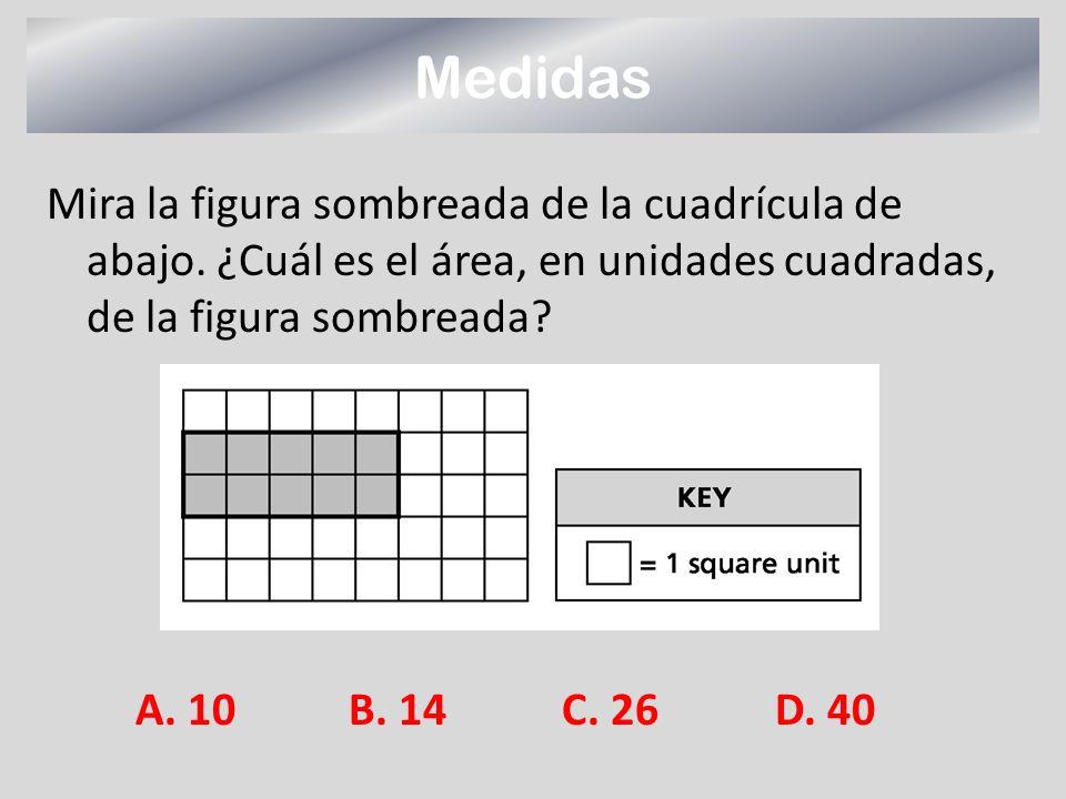 Mira la figura sombreada de la cuadrícula de abajo. ¿Cuál es el área, en unidades cuadradas, de la figura sombreada? Medidas A. 10B. 14C. 26D. 40