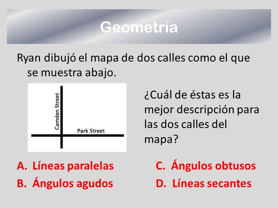 Geometría Ryan dibujó el mapa de dos calles como el que se muestra abajo. A.Líneas paralelasC. Ángulos obtusos B.Ángulos agudosD. Líneas secantes ¿Cuá