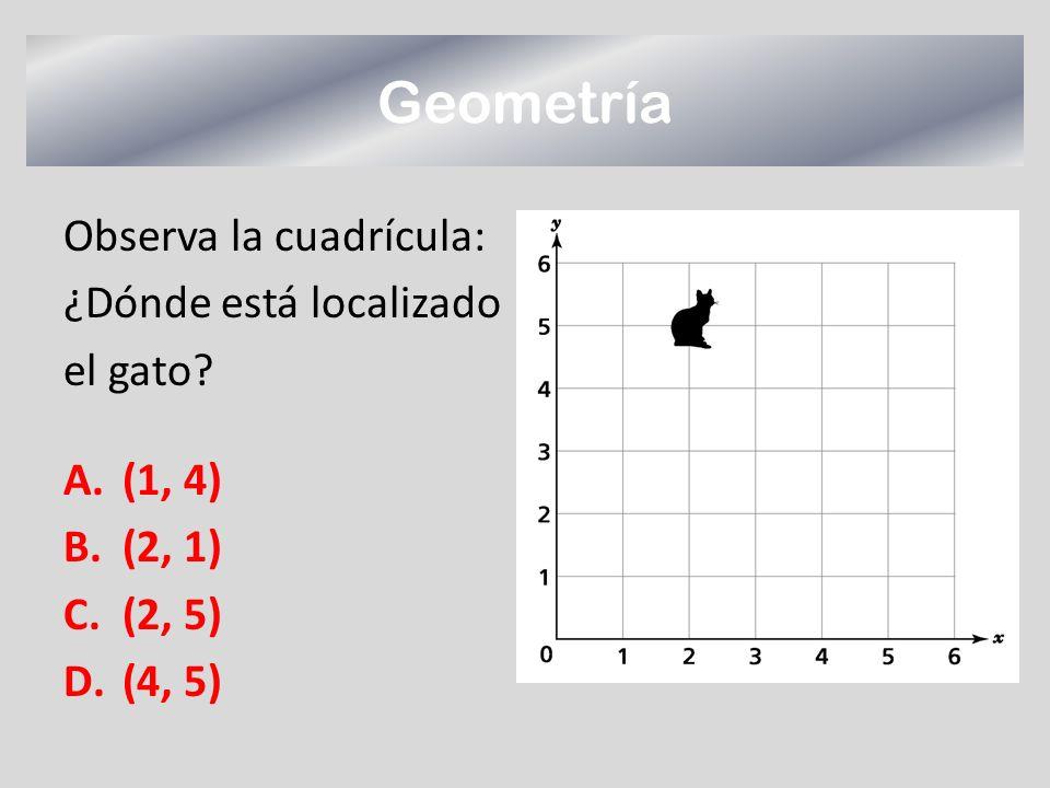 Geometría Observa la cuadrícula: ¿Dónde está localizado el gato? A.(1, 4) B.(2, 1) C.(2, 5) D.(4, 5)
