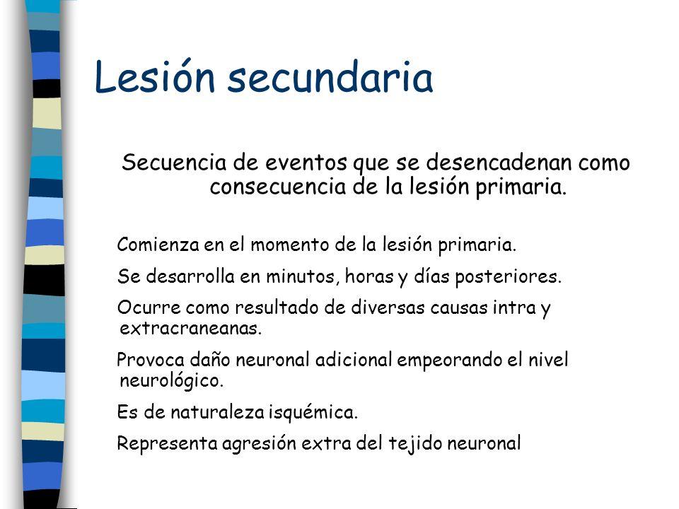 Lesión secundaria Secuencia de eventos que se desencadenan como consecuencia de la lesión primaria. Comienza en el momento de la lesión primaria. Se d