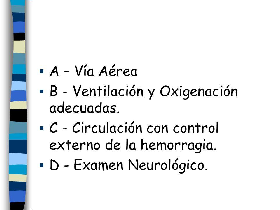 A – Vía Aérea B - Ventilación y Oxigenación adecuadas. C - Circulación con control externo de la hemorragia. D - Examen Neurológico.