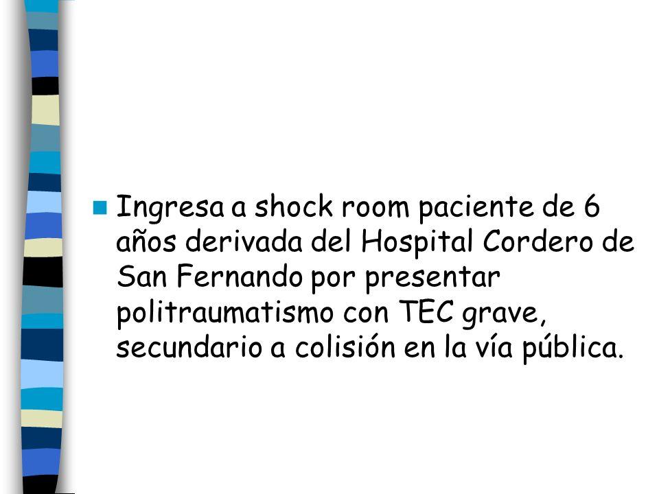 Ingresa a shock room paciente de 6 años derivada del Hospital Cordero de San Fernando por presentar politraumatismo con TEC grave, secundario a colisi
