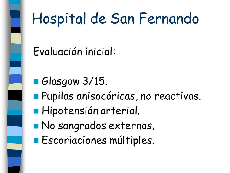 Hospital de San Fernando Evaluación inicial: Glasgow 3/15. Pupilas anisocóricas, no reactivas. Hipotensión arterial. No sangrados externos. Escoriacio