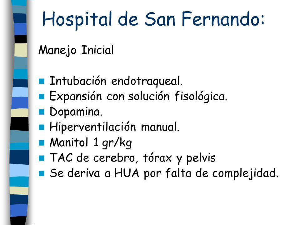 Hospital de San Fernando: Manejo Inicial Intubación endotraqueal. Expansión con solución fisológica. Dopamina. Hiperventilación manual. Manitol 1 gr/k