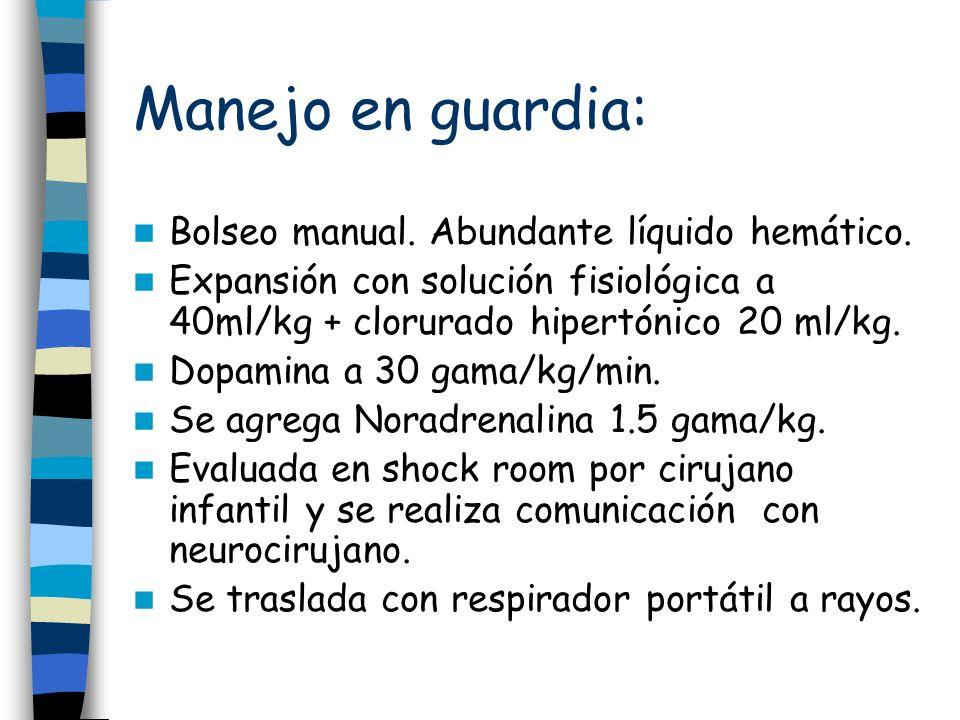 Manejo en guardia: Bolseo manual. Abundante líquido hemático. Expansión con solución fisiológica a 40ml/kg + clorurado hipertónico 20 ml/kg. Dopamina
