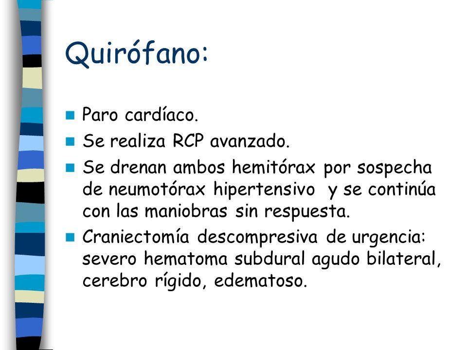 Quirófano: Paro cardíaco. Se realiza RCP avanzado. Se drenan ambos hemitórax por sospecha de neumotórax hipertensivo y se continúa con las maniobras s