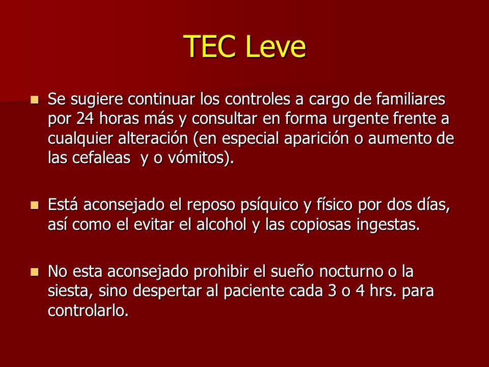 TEC Leve Se sugiere continuar los controles a cargo de familiares por 24 horas más y consultar en forma urgente frente a cualquier alteración (en especial aparición o aumento de las cefaleas y o vómitos).