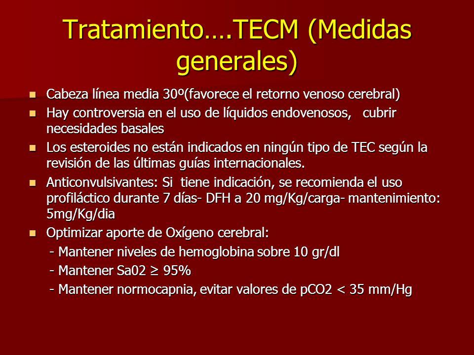 Tratamiento….TECM (Medidas generales) Cabeza línea media 30º(favorece el retorno venoso cerebral) Cabeza línea media 30º(favorece el retorno venoso ce