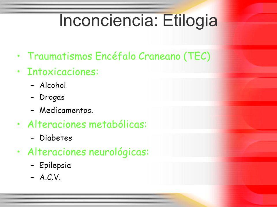 Inconciencia: Etilogia Traumatismos Encéfalo Craneano (TEC) Intoxicaciones: –Alcohol –Drogas –Medicamentos. Alteraciones metabólicas: –Diabetes Altera