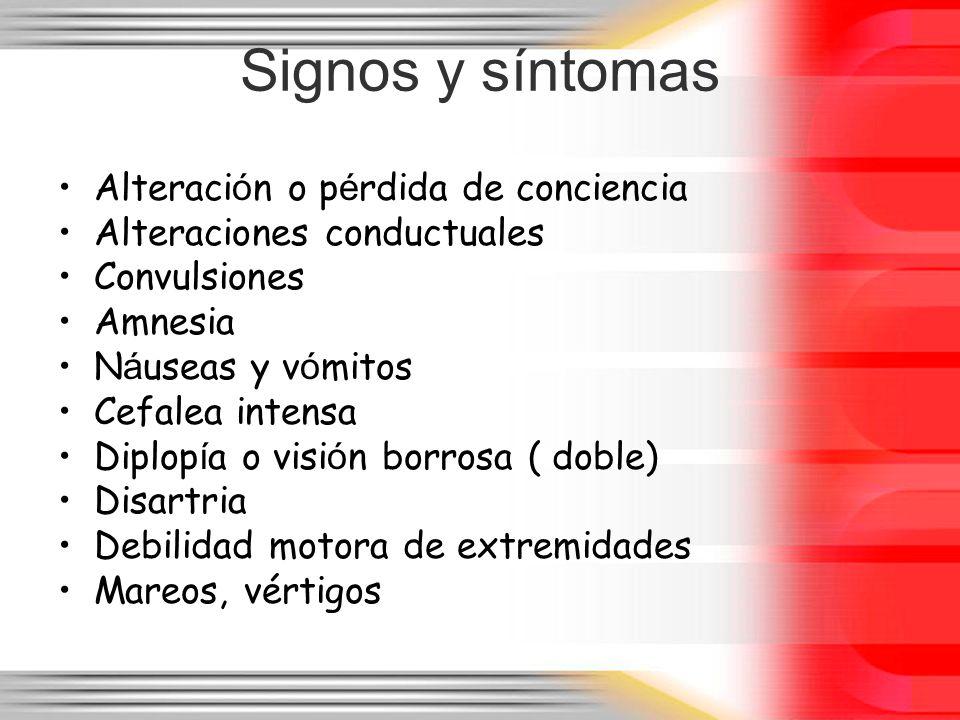 Signos y síntomas Alteraci ó n o p é rdida de conciencia Alteraciones conductuales Convulsiones Amnesia N á useas y v ó mitos Cefalea intensa Diplop í