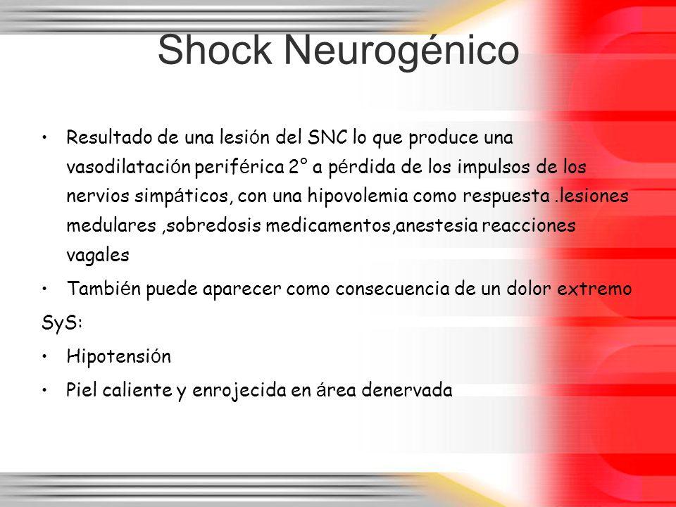 Shock Neurogénico Resultado de una lesi ó n del SNC lo que produce una vasodilataci ó n perif é rica 2° a p é rdida de los impulsos de los nervios sim