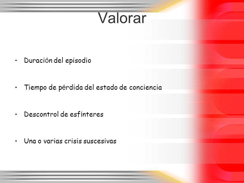 Valorar Duraci ó n del episodio Tiempo de p é rdida del estado de conciencia Descontrol de esf í nteres Una o varias crisis suscesivas