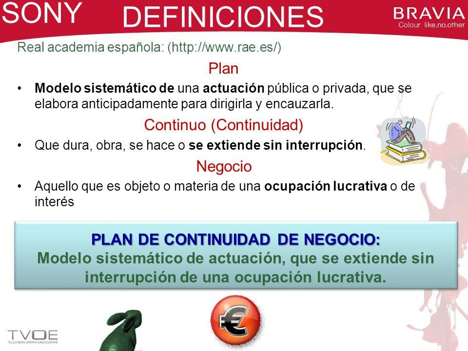 PNC FUTURO SONY CENTRO DE DATOS EUROPEO (Principal + Backup) Sistemas financieros y corporativos Sistemas de ventas CENTRO TECNOLÓGICO (SPAIN) Sistemas de producción Sistemas locales Respaldo del Centro Logístico CENTRO LOGÍSTICO (SPAIN) Sistemas de producción Sistemas locales Respaldo del Centro Tecnológico
