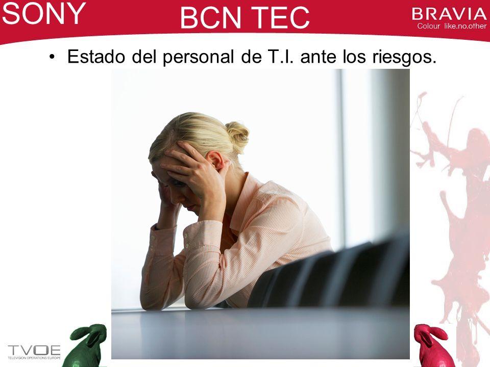 BCN TEC Los cambios traen nuevas necesidades: CAMBIOS –Se procede a trabajar en producción con sistemas informáticos en tiempo real –Las auditorías de sistemas exigen un Plan de Continuidad EN CONDICIONES –Se buscan sinergias entre los centros de SONY en España: BCN TEC + CENTRO LOGÍSTICO –Cambio de percepción por parte de Gerencia de los peligros: InundacionesIncendios SONY NUEVA FILOSOFÍA: LOS SISTEMAS HAN DE SER ACCESIBLES EN TODO MOMENTO, Y ANTE CUALQUIER EVENTUALIDAD NUEVA FILOSOFÍA: LOS SISTEMAS HAN DE SER ACCESIBLES EN TODO MOMENTO, Y ANTE CUALQUIER EVENTUALIDAD