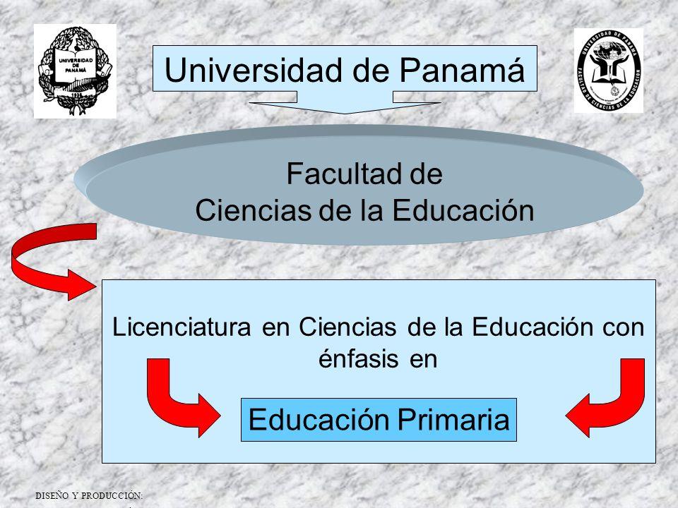Universidad de Panamá Facultad de Ciencias de la Educación Licenciatura en Ciencias de la Educación con énfasis en Educación Primaria DISEÑO Y PRODUCC