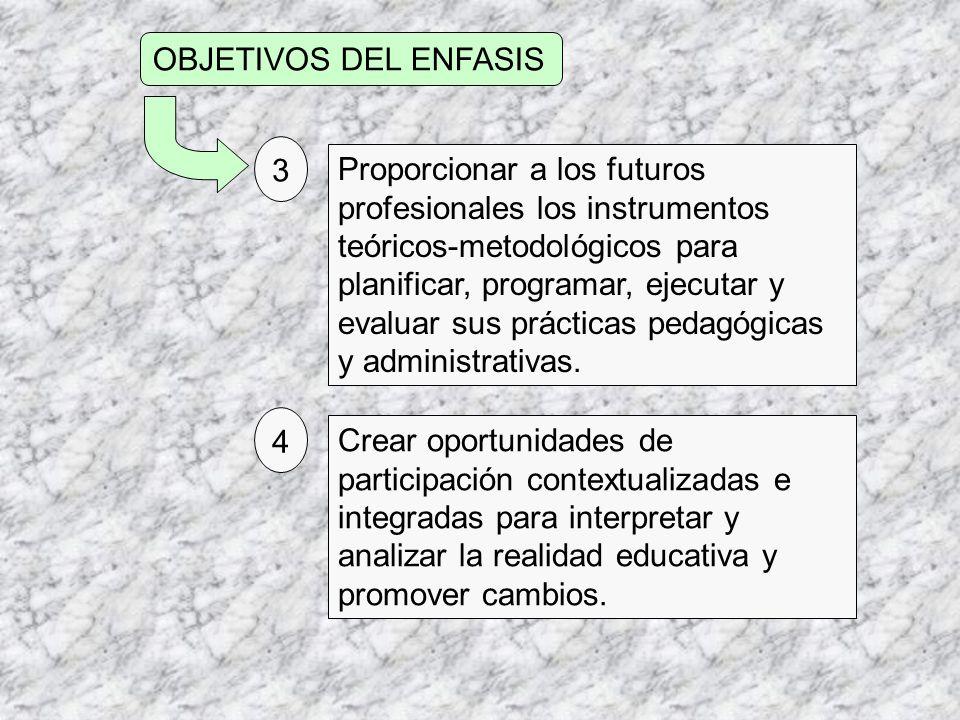 OBJETIVOS DEL ENFASIS Proporcionar a los futuros profesionales los instrumentos teóricos-metodológicos para planificar, programar, ejecutar y evaluar