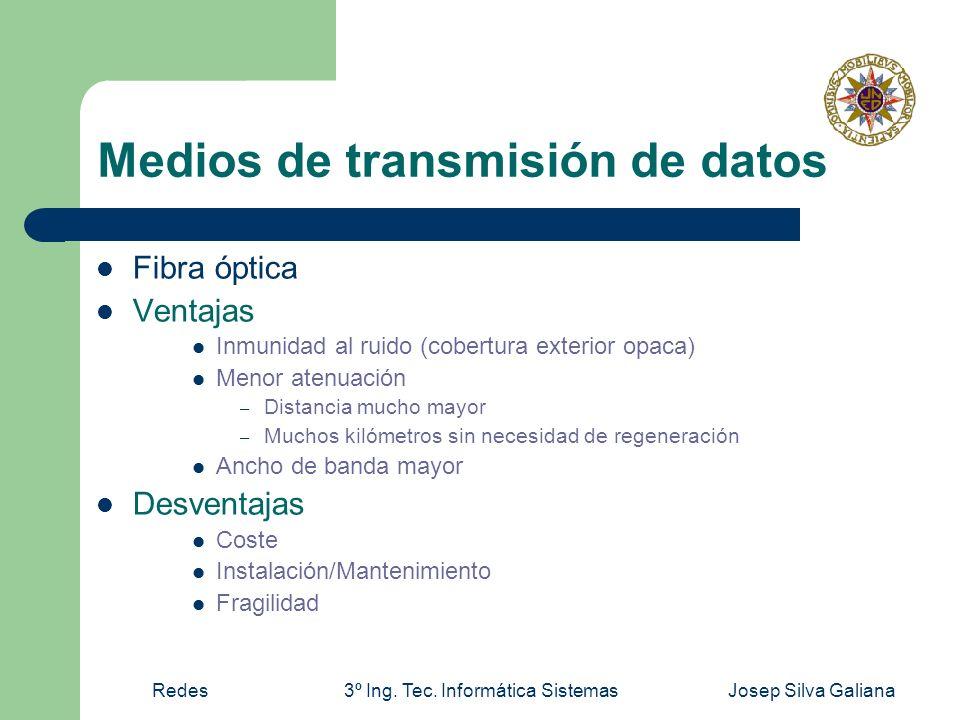 Redes3º Ing. Tec. Informática SistemasJosep Silva Galiana Medios de transmisión de datos Fibra óptica Ventajas Inmunidad al ruido (cobertura exterior