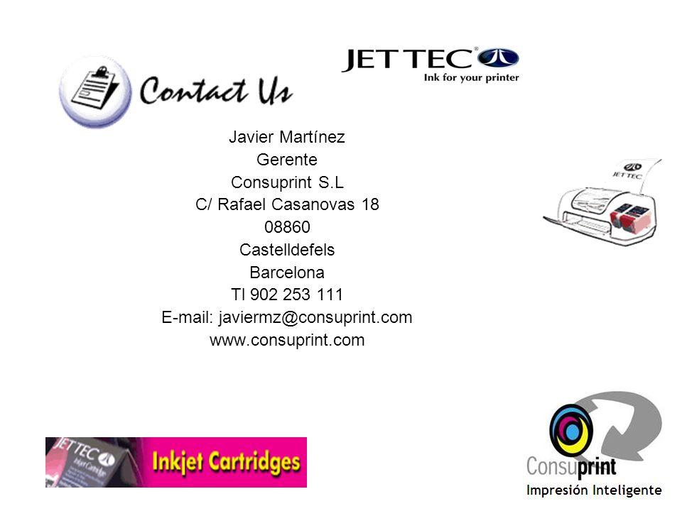 Javier Martínez Gerente Consuprint S.L C/ Rafael Casanovas 18 08860 Castelldefels Barcelona Tl 902 253 111 E-mail: javiermz@consuprint.com www.consupr