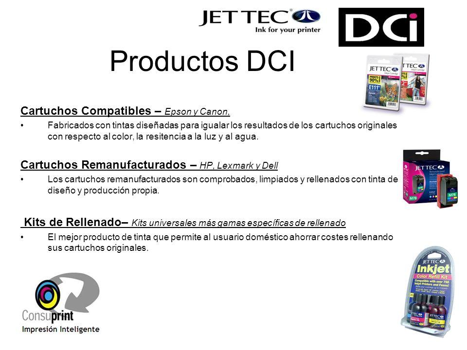 Productos DCI Cartuchos Compatibles – Epson y Canon, Fabricados con tintas diseñadas para igualar los resultados de los cartuchos originales con respecto al color, la resitencia a la luz y al agua.